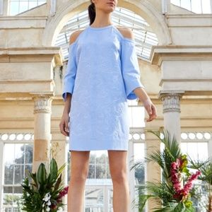 Ted Baker London Blue Embroidered Shift Mini Dress